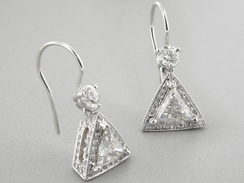 Trillion Cut Diamond Drop Earrings In 18 Karat White Gold
