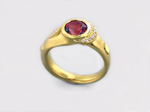 535a71b9ae72f4 Orange Sapphire With Diamond Cocktail Ring in 20 Karat Yellow Gold ...