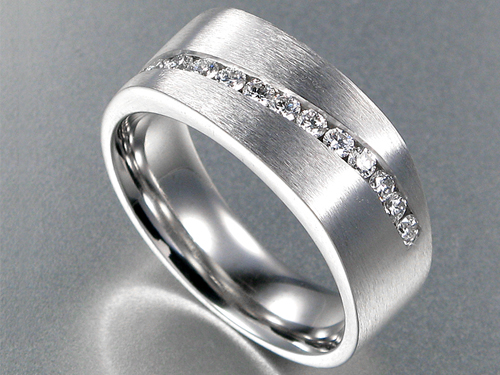 Mens 7mm Brushed Comfort Fit Wedding Band With Diamonds In 14 Karat White Gold