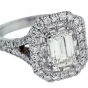 Double Halo Emerald Cut Diamond Engagement Ring Side