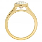 18 Karat Yellow Gold Bezel Diamond Engagement Ring Upright