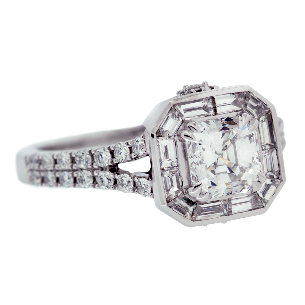 asscher cut diamond engagement ring mouradian custom With asscher cut diamond wedding rings