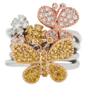 Butterfly and Flower Fashion Ring Front