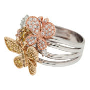 Butterfly and Flower Fashion Ring Side