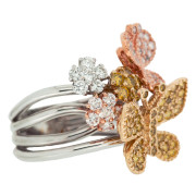 Butterfly and Flower Fashion Ring Three Quarter