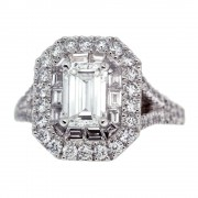 Double Halo Emerald Cut Diamond Engagement Ring Front