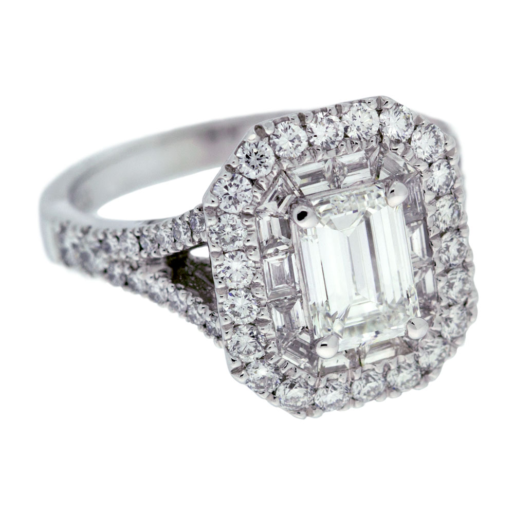 Double Halo Emerald Cut Diamond Engagement Ring