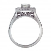 Double Halo Emerald Cut Diamond Engagement Ring Upright