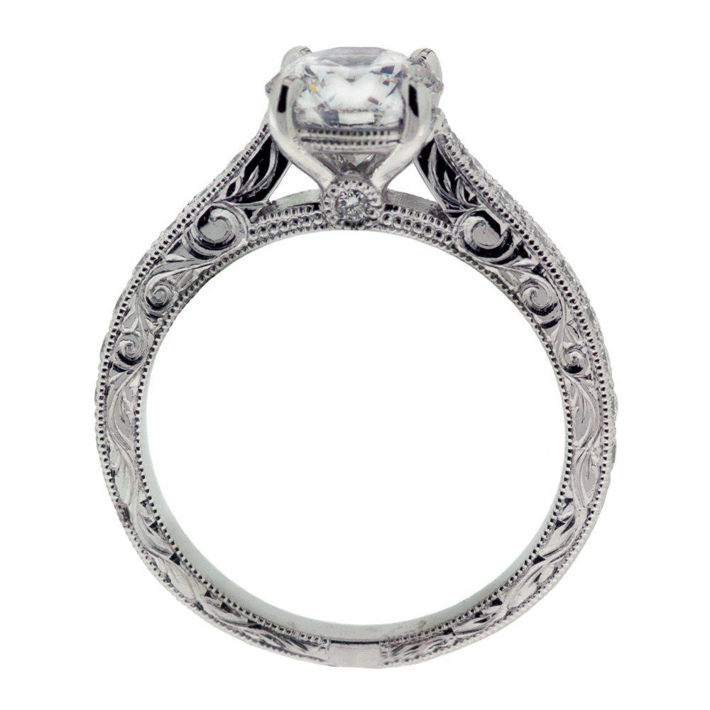 Hand Engraved Diamond Ring Side Hand Engraved Diamond Ring Upright