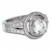 Heirloom Double Halo Micropave Split Shank Diamond Engagement Ring Quarter View