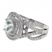 Heirloom Double Halo Micropave Twisted Shank Diamond Engagement Ring Side