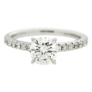 Solitaire Engagement Ring With Diamond Band Front