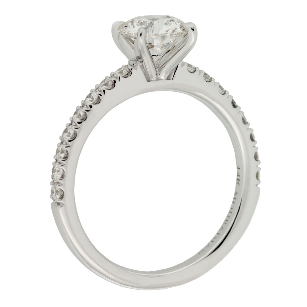 Solitaire Engagement Ring With Diamond Band Mouradian