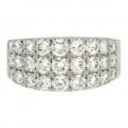 Triple Row Round Diamond Ring Front