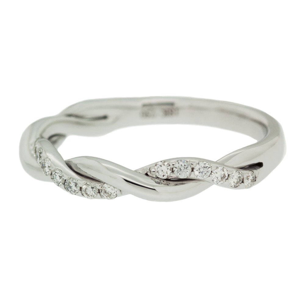 White Gold Single Row Diamond Twisted Wedding Band Upright