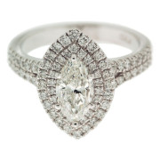 Marquise Diamond Ring With Double Halo Front