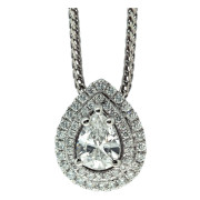 Pear Diamond With Double Halo Necklace Front