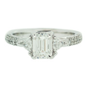 Diamond Engagement Ring With Triangle Diamond Side Detail Front