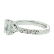 Diamond Engagement Ring With Triangle Diamond Side Detail Profile