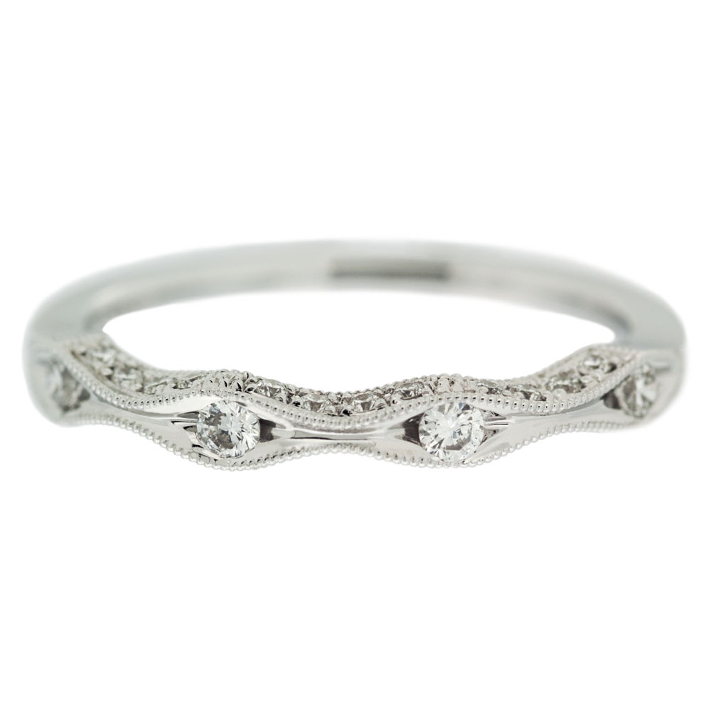Diamond Wave Wedding Band Side