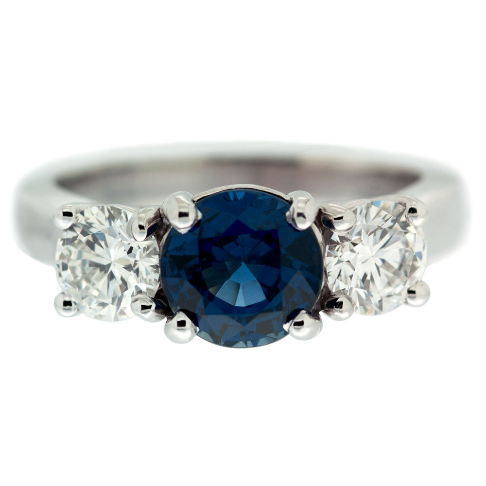 Three Stone Ring With Sapphire Center Stone Mouradian