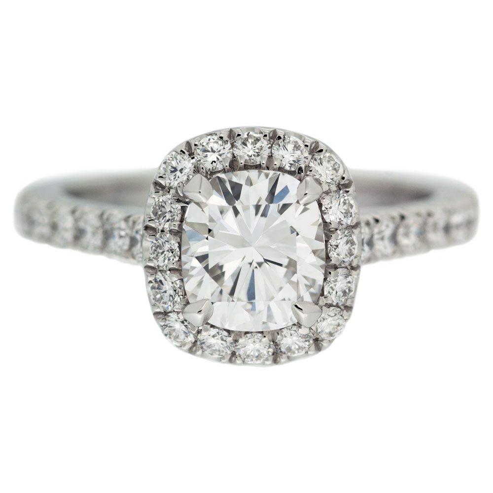 Cushion Cut Halo Diamond Engagement Ring Mouradian