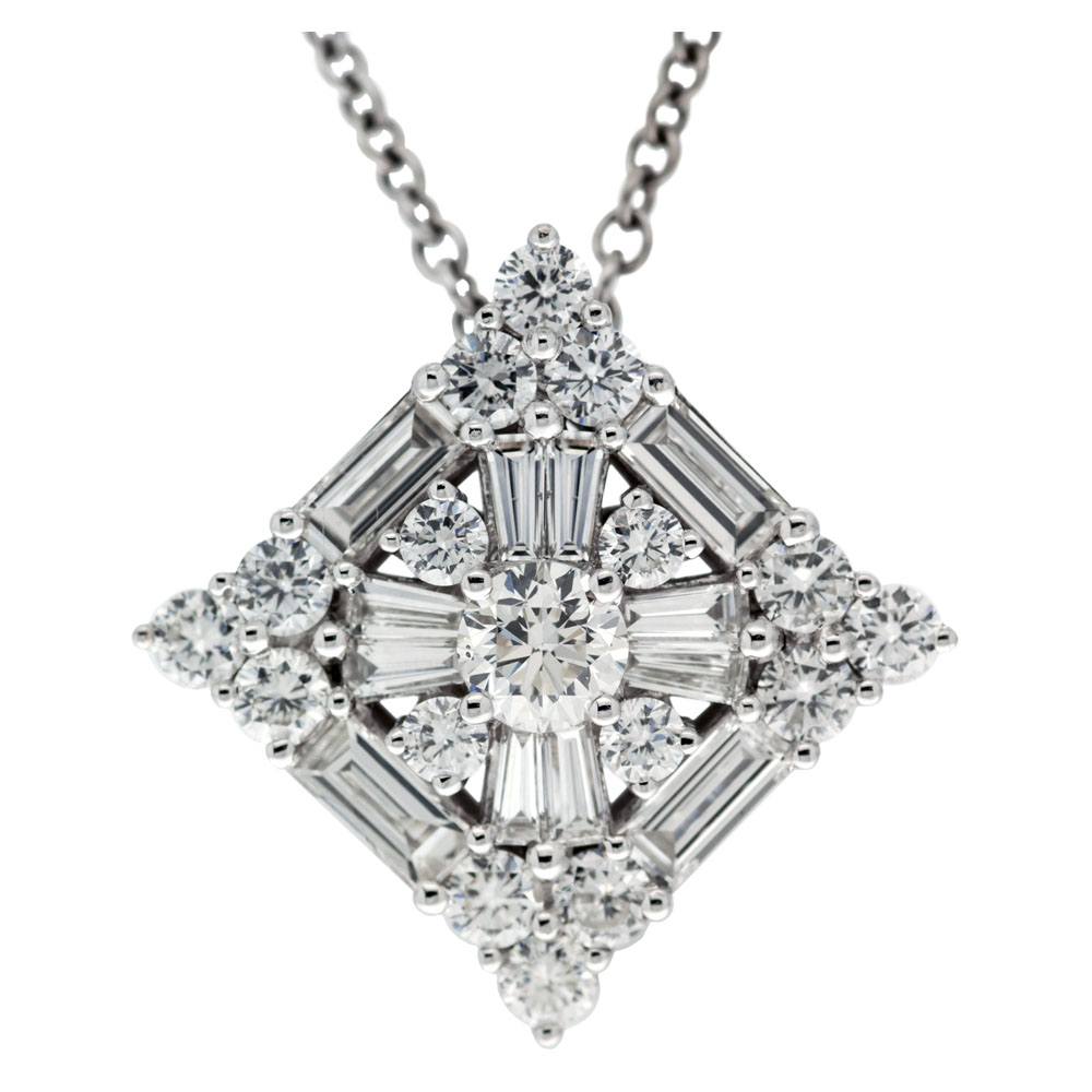 pave roseark and baguette diamond pendant necklace products
