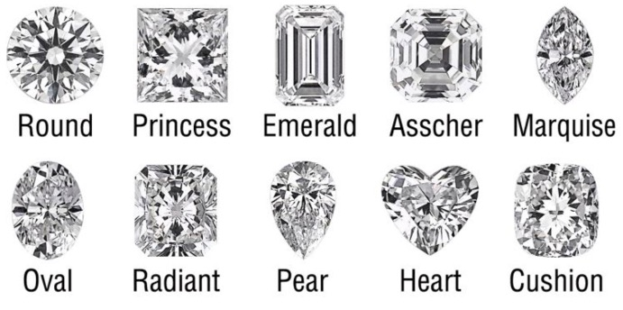 round cut brilliants still seem to be the most popular diamond shape for engagement rings with sharper cuts like asscher and emerald gaining popularity - Wedding Ring Cuts