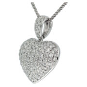 Domed Diamond Heart Pendant Side
