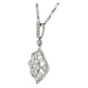 Wavy Square Diamond Pendant Side