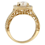 Yellow Gold Twisted Shank Halo Ring Upright
