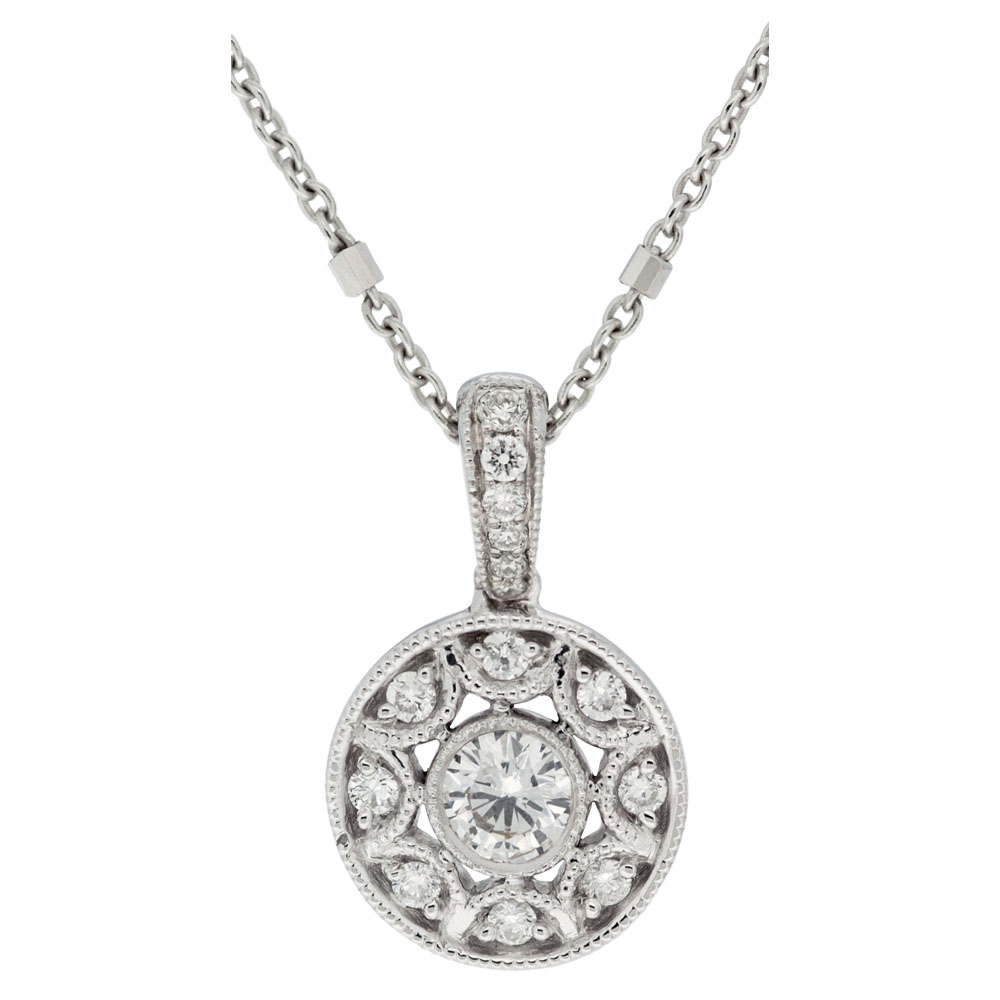 Nine Stone Diamond Circle Pendant With Diamond Bale
