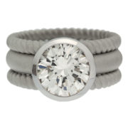 Sandblasted Three Band Solitaire Diamond Ring Front