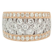 Wide Rose and White Gold Diamond Statement Ring Front