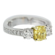 Cushion Cut Yellow Diamond Engagemnt Ring Side