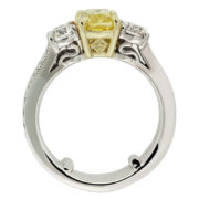 Cushion Cut Yellow Diamond Engagemnt Ring Upright