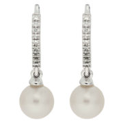 Diamond Lever Back Pearl Earrings Front