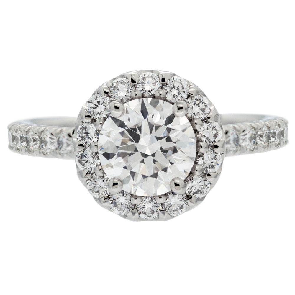 Round Diamond With Round Halo Engagement Ring Mouradian