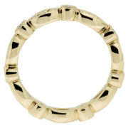 Yellow Gold Pave Setting Band With Milgrain Detail Upright