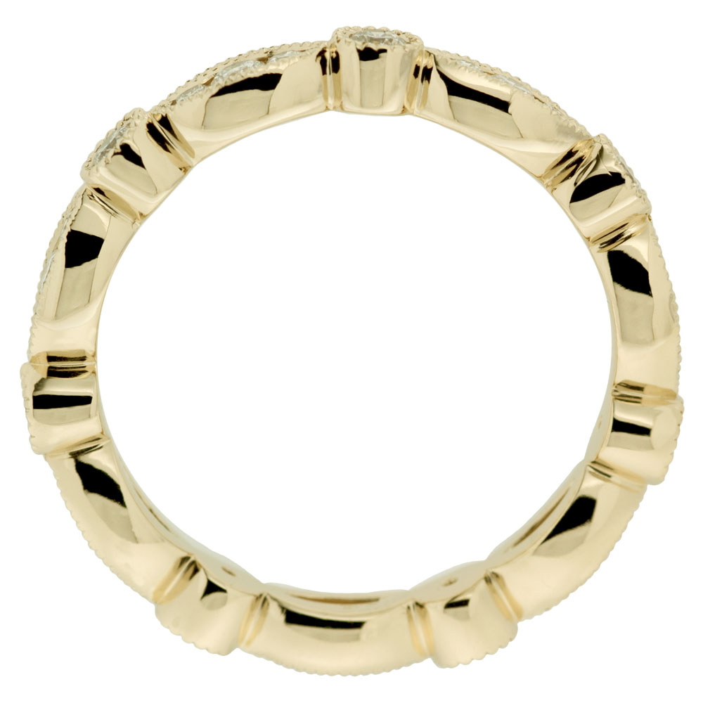 Yellow Gold Pave Setting Wedding Band With Milgrain