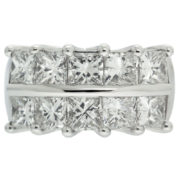 Double Row Princess Cut Diamond Ring Front