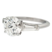 Solitaire Diamond Engagement Ring with Tapered Baguettes Side