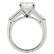 Solitaire Diamond Engagement Ring with Tapered Baguettes Upright
