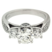 Three Diamond Ring with Diamond Shank Front
