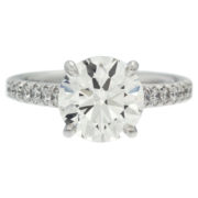 Solitaire Diamond With Diamond Shank Engagement Ring Front
