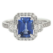 Emerald Cut Sapphire Engagement Ring Front