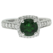 Round Emerald With A Cushion Halo Ring Front